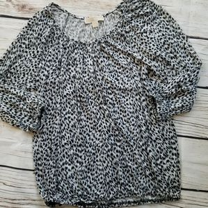 Michael Kors Animal Print Leopard Elastic Hem Top